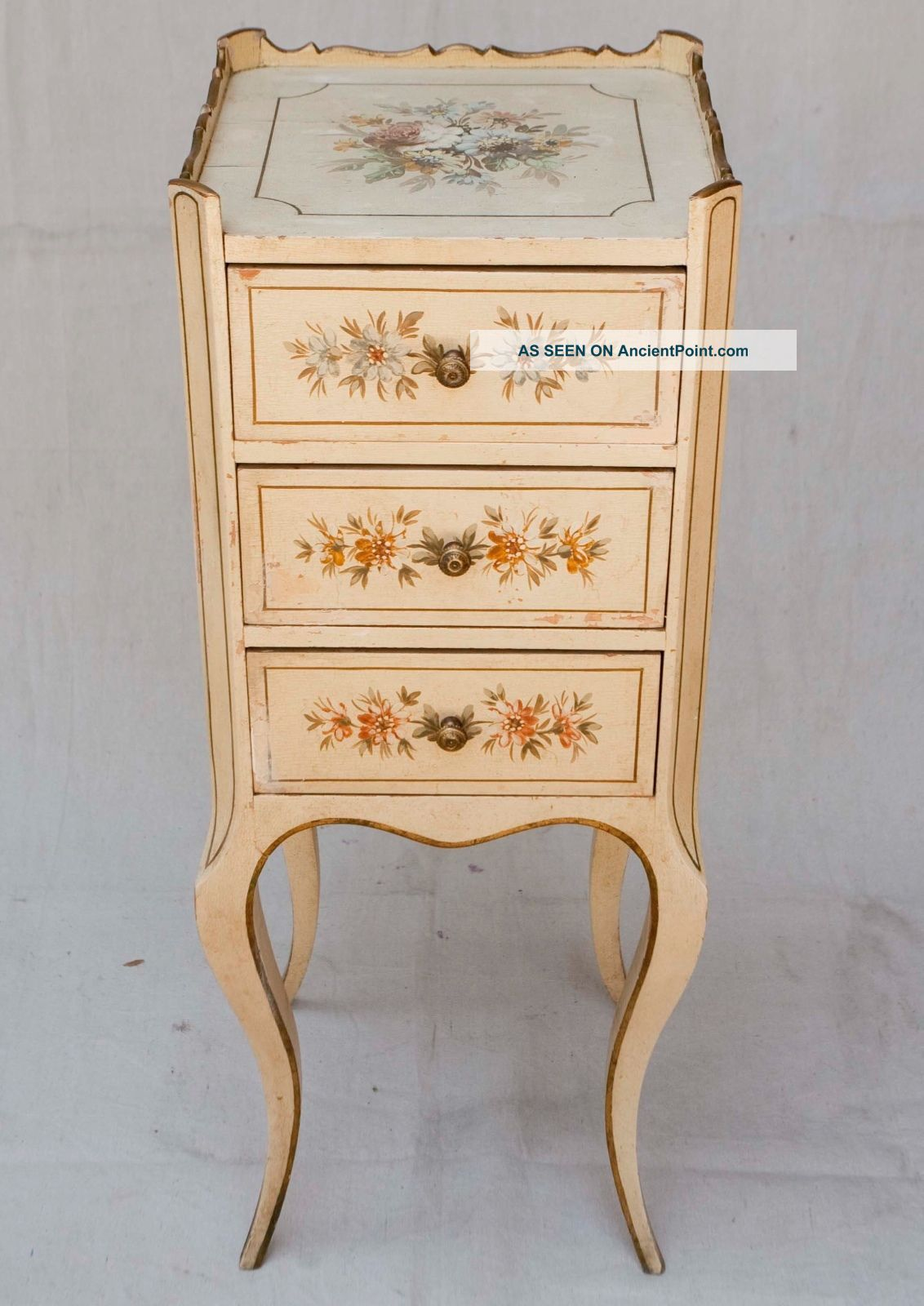 Louis Xiv Vintage 1940 ' S Hand Painted Floral French Side Table 3 Drawers Unknown photo
