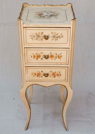 Louis Xiv Vintage 1940 ' S Hand Painted Floral French Side Table 3 Drawers photo