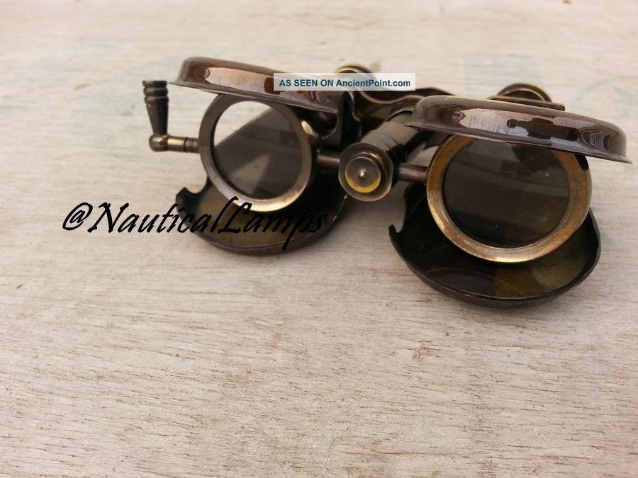 Vintage Binocular Folding Monocle Telescope Spyglass Solid Brass Antique Finish