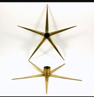 Swedish Brass Stars Candle Holders Vtg 1950s Ystad - Metall photo