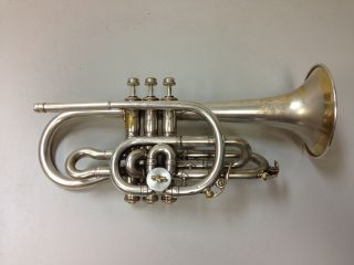 York & Sons Couturier Wizard Model Silver Plated Cornet C.  1912 photo