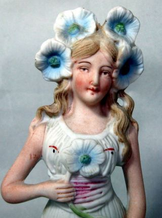 Antique Victorian German Porcelain Bisque Woman With Flowers Figurine photo