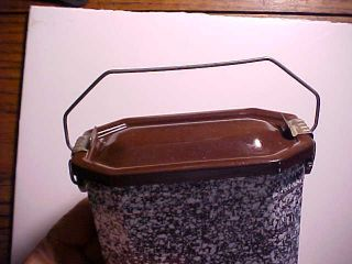 1930s Old French Speckled Graniteware Lunchbox With Fruit Cup Fine photo