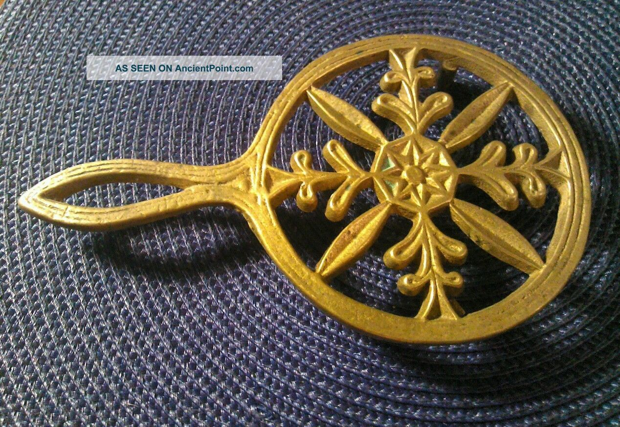 Antique Ar Ornate Early Cast Bronze Brass Footed Trivet Trivets photo