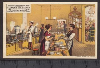 1880 ' S Restaurant Florence Oil Stove Kitchen Chef Machine Advertising Trade Card photo