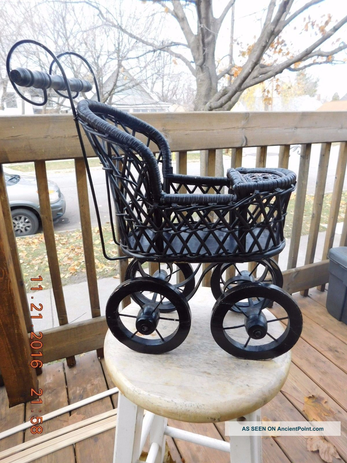 Vintage Victorian Style Wood Wicker Baby Doll Stroller Buggy Miniature Baby Carriages & Buggies photo