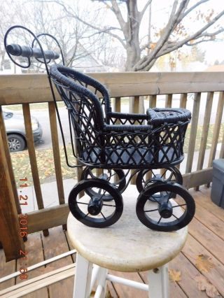 Vintage Victorian Style Wood Wicker Baby Doll Stroller Buggy Miniature photo