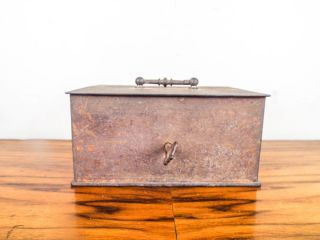 Antique Miniature Small Metal Strong Box Jewelry Safe With Key 19th Century photo