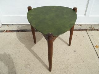 Vintage Mid Century Modern Guitar Pick Table End Side Table Tapered Legs photo