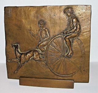 Children Bicycle Greyhound Whippet Dog Bronze Relief Plaque Sculpture Signed photo