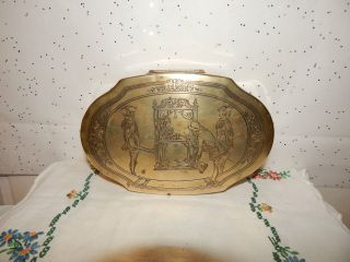 Antique Vintage Art Deco Boudoir Vanity Brass Metal Jewelry Casket Trinket Box photo