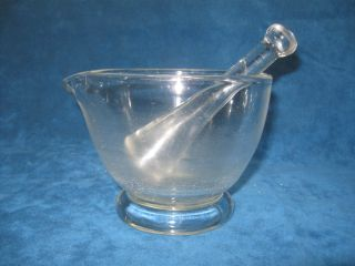 Vintage Pharmacy Apothecary 16oz Clear Glass Mortar & Pestle.  Great For Kitchen photo