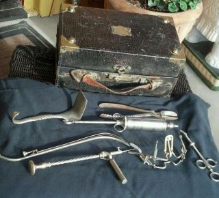 Vintage Medical Case & 7 Doctor Instruments Tools: 1900s Hand Drill,  Mouth Gag, photo