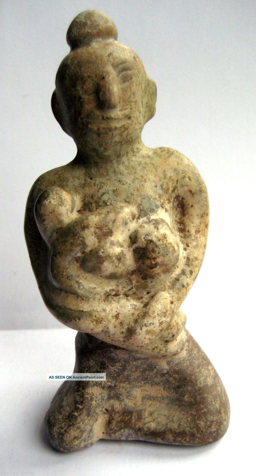 Circa.  1400 A.  D Thailand Medieval Period Glazed Clay Mother Goddess Statue Idol Near Eastern photo