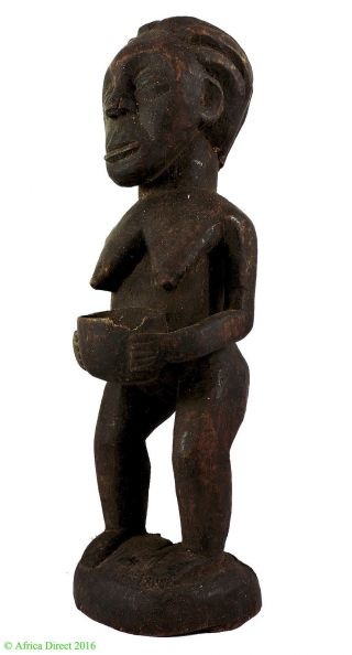 Luba Female Figure With Bowl Bearer Congo African Art photo