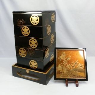 E214: Japanese Old Tier Of Lacquered Boxes Jubako With Very Good Makie W/stand. photo