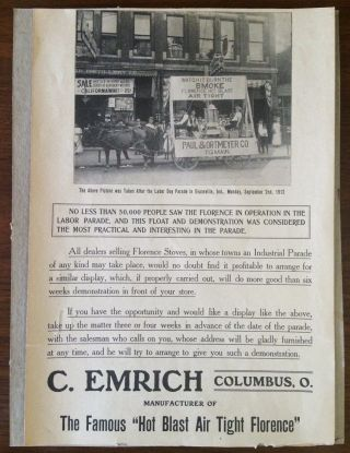 Antique C Emrich Cast Iron Stove Advertisement Flyer Florence Parade Photo photo