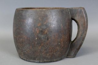 Rare Late 18th C American Wooden Carved Tavern Mug In Grungy Surface photo