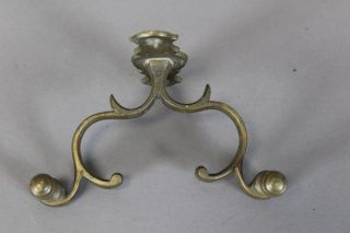 Rare 18th C American Brass Double Side Jamb Hook Lemon Top Finials Old Patina photo