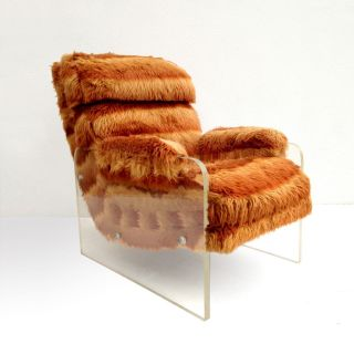 Mid Century Modern Spaceage Faux Fur Lucite Lounge Chair 1970s Kagan photo