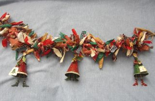 Colorful Primitive Country Chrstmas Garland Homespun Decorative Ooak Handmade photo