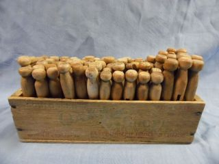 Vintage 72,  Antique Clothes Pins Wood Cheese Box Country Decor 4 Laundry Room photo