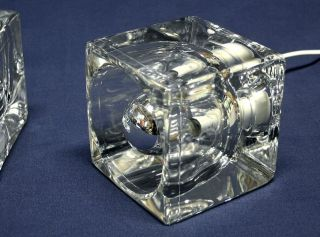 Rare Peill & Putzler Mid Century Crystal Cube Table Lights From 70s photo