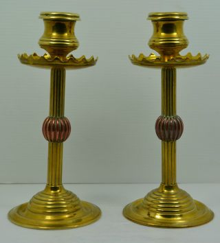 Neo Gothic Solid Brass Pugin Candlesticks May & Padmore 3680 photo