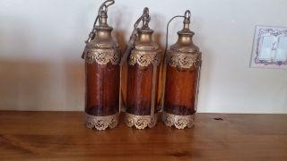 Antique Vintage Amber Crackle Glass Ornate Hanging Brass Lights photo