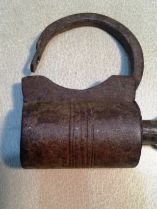 Antique Primitive Hand Forged Iron Hasp Cylinder Padlock With Screw Key photo