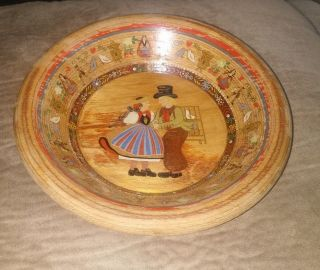 Wooden German Bowl Hand Painted 7 - 1/2