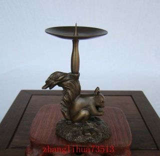 Antique Collectible Handmade Candlestick Copper Squirrel Art Deco photo