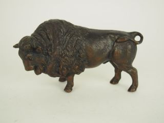 Antique Cast Metal Brass? Buffalo Bison Sculpture Figurine,  Statue Western Decor photo