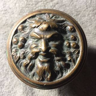 Antique Fancy Entry Face Figural Knob Inspired Design With Banded Edge photo