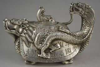 94 Mm China Collectible Handwork Old Tibet Silver Carve Dragon Phoenix Teapot photo