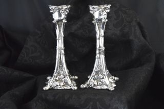 Circa 1930 Pair Japanese Silverplated 6 - 1/2 Inch Candlesticks photo