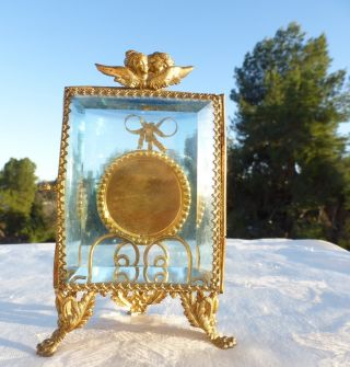 Antique Beveled Glass Pocket Watch Casket Trinket Box Display Case Angels photo