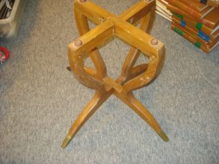 Brass Tray Mid - Century Modern Wooden Coffee Table Folding Spider Leg Base photo