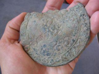 Large Ancient Celtic Bronze Belt Floral Motive Application 300 - 100 Bc photo