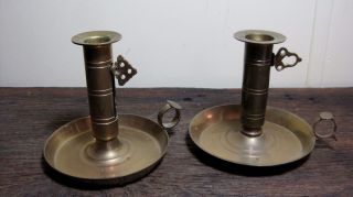 Pair Vintage Mid Century Taper Candle Holders Antique Home & Garden Finger Lamps photo
