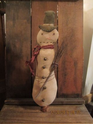 Primitive Folk Art Handmade Snowman Vintage Bobbin Make - Do photo