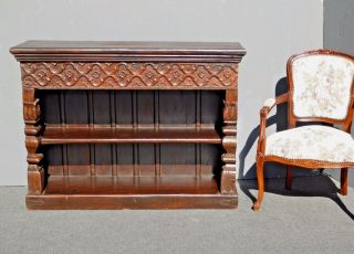 Large Vintage Spanish Rustic Carved Two Tier Distressed Solid Wood Bookcase photo