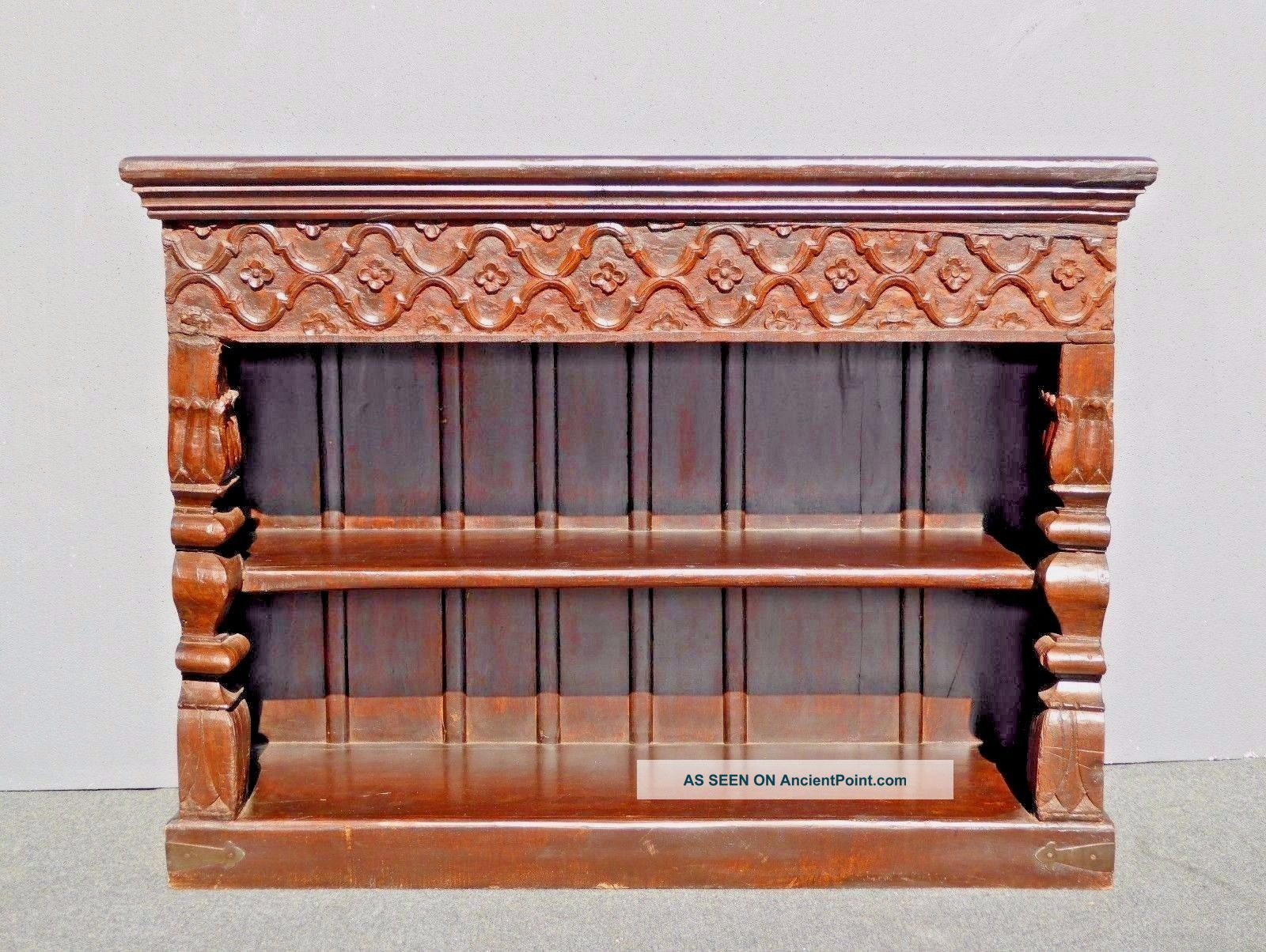 Large Vintage Spanish Rustic Carved Two Tier Distressed