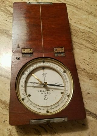 Rare Antique Wood And Brass Compass photo