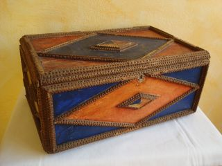 Very Big German Tramp Art Wood Box.  About 1900 - 1920 (big Is Rare) photo