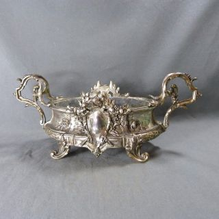 Antique French Metal Table Pot Planter Jardiniere Silver Plated 19th Century photo