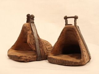 Spanish Colonial Carved Stirrups With Silver Inlay photo