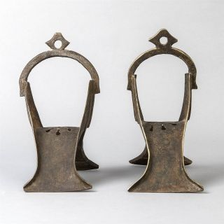 2 Antique Engraved Brass Turkish Riding Stirrups Rustic Collectible photo