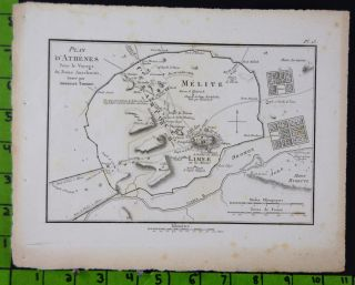 Map Of Athens Ancient Greek Antique Engraved Map 1785 Large 8x11 Inches photo