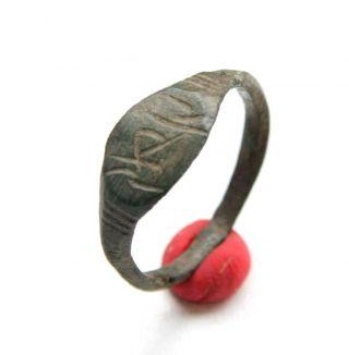Ancient Old Viking Bronze Runic Ring (dec) photo